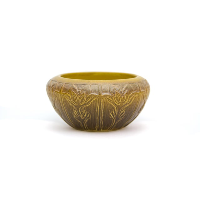 C. 1915 North Dakota Art Nouveau Art Pottery Pasque Flower Bowl For Sale In New York - Image 6 of 6