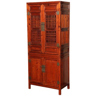 Tall 19th Century Chinese Kitchen Cabinet With Fretwork Upper Doors For Sale