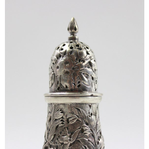 Antique 1840s Repousse Silver Pepper Shaker - Image 5 of 6
