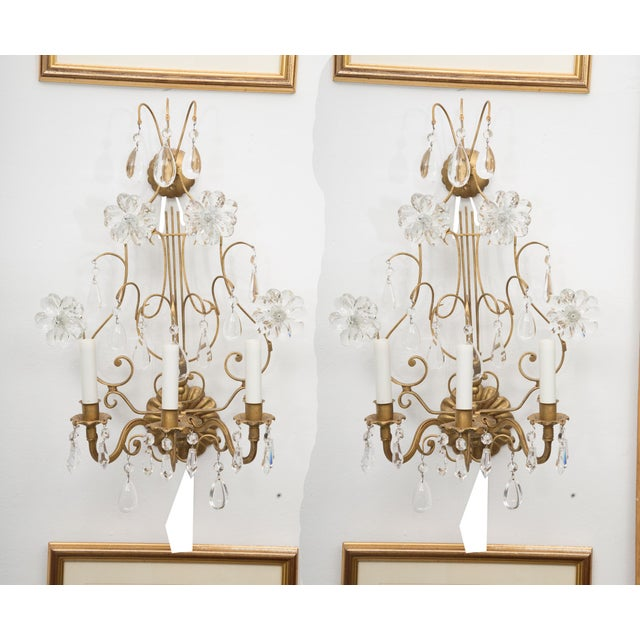 Pair of Italian Gilt Metal and Crystal Electrified Sconces For Sale - Image 9 of 9