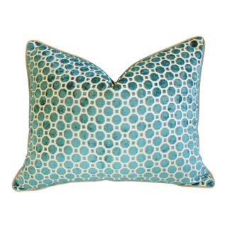 "24"" x 18 Turquoise Geometric Dot Velvet Feather/Down Pillow For Sale"