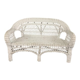 Vintage White Wicker Child's Sized Sofa