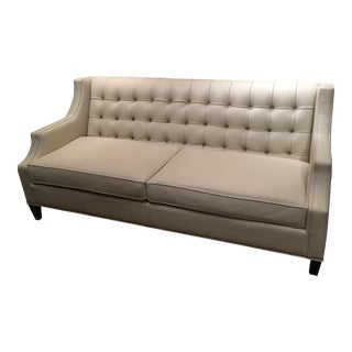 Mid-Century Modern Leathercraft White Leather Sofa