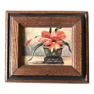 Original Vintage Modernist Small Still Life PaintingSigned 1950's For Sale