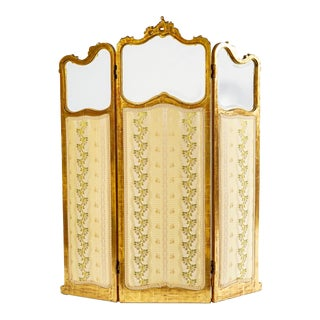 19th C. French Giltwood Screen With Beveled Glass For Sale