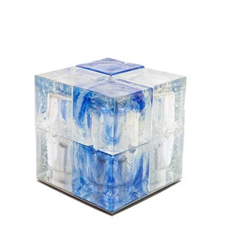 Italian Glass Cube Light by Poliarte For Sale