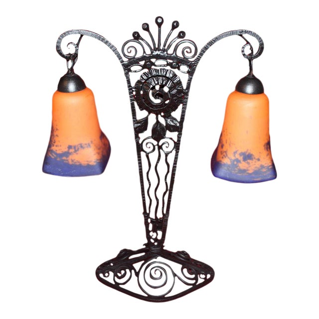 1920s French Art Deco Wrought Iron Double Lamp With Glass Shades For Sale