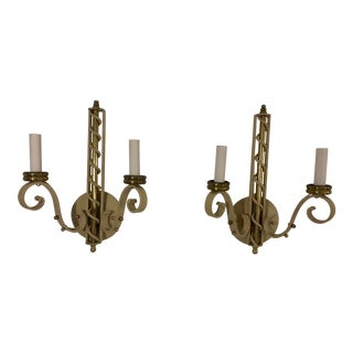 French 19th Century Wrought Iron Bronze and Brass Sconces a Pair For Sale
