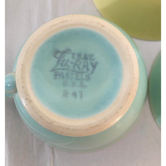 Light Green 1940s Ts and T LuRay Pastels Teacups - Set of 3 For Sale - Image 8 of 11