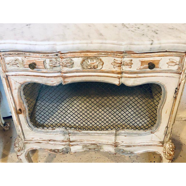 A Distressed Pair of Louis XV Style Marble Top End Tables Bed/Night Side Stand For Sale - Image 4 of 12