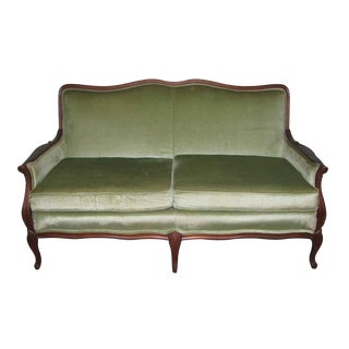 Carved Frame Love Seat With Lime Green Upholstery For Sale