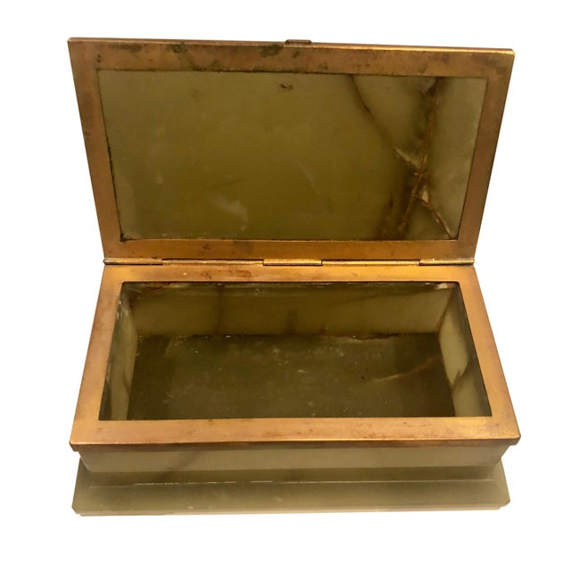 1940s Large Onyx and Bronze Table Box For Sale In Tampa - Image 6 of 12
