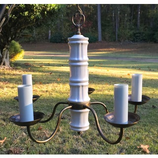 1960s Thomas Industries White Porcelain Bamboo and Antique Brass Chandelier Preview