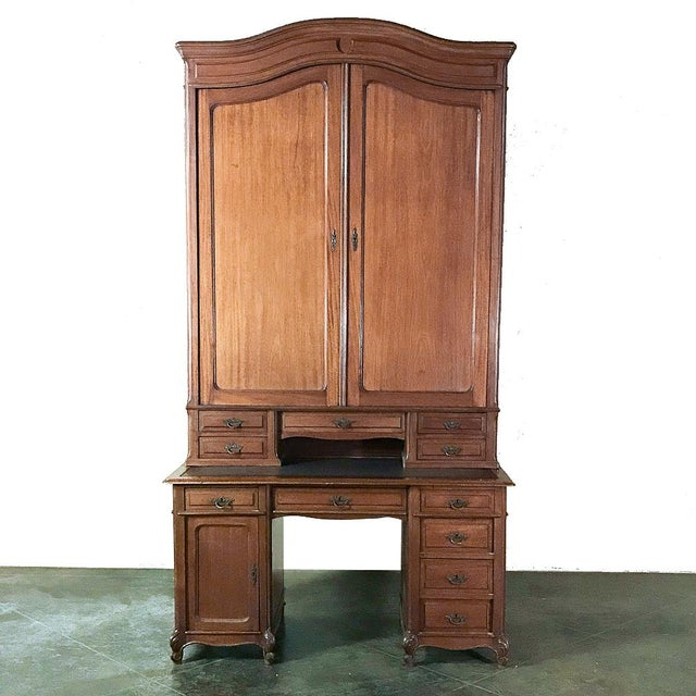 Grand 19th Century Louis Philippe Mahogany Desk With Bookcase For Sale - Image 13 of 13
