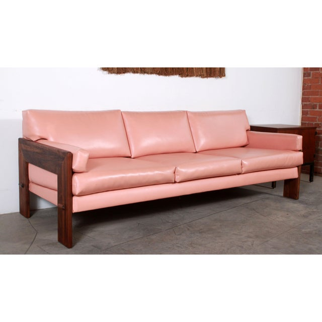 Mid Century Modern Adrian Pearsall for Craft Associates Pink Vinyl & Walnut Sofa For Sale - Image 13 of 13