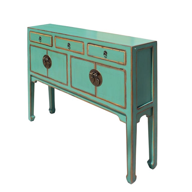 Chinese Oriental Distressed Teal Green Blue Narrow Slim Table For Sale In San Francisco - Image 6 of 8