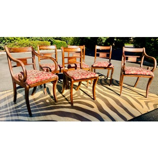 English Traditional Brass Inlaid Regency Style Dining Chairs - Set of 6 Preview