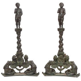 Pair of Renaissance Revival Bronze Andirons