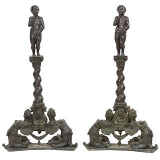 Pair of Renaissance Revival Bronze Andirons For Sale