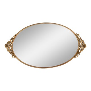 Oval Mirrored Vanity Tray For Sale