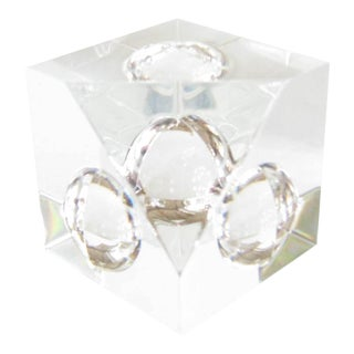 Vintage Steuben Crystal Floating Spheres Cube Prism Paperweight Signed For Sale