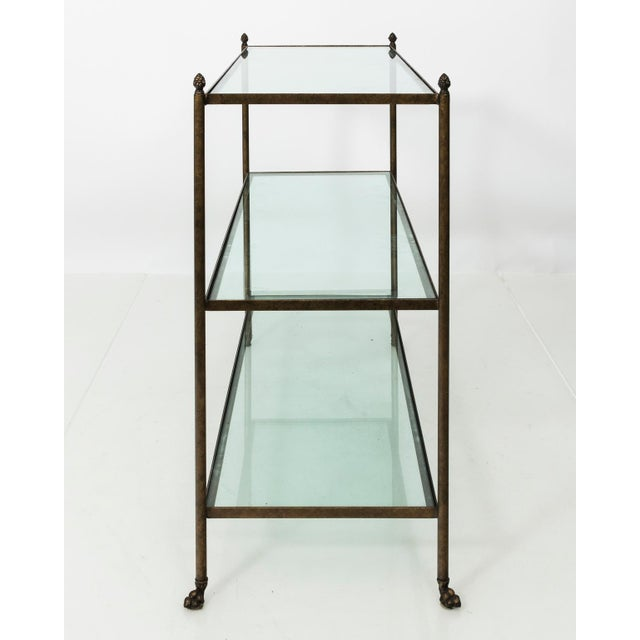 Metal Pair of 1980s Three-Tier Glass Etageres For Sale - Image 7 of 13