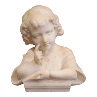"19th Century French White Marble Bust of Young Child ""Learning the Alphabet"" For Sale"