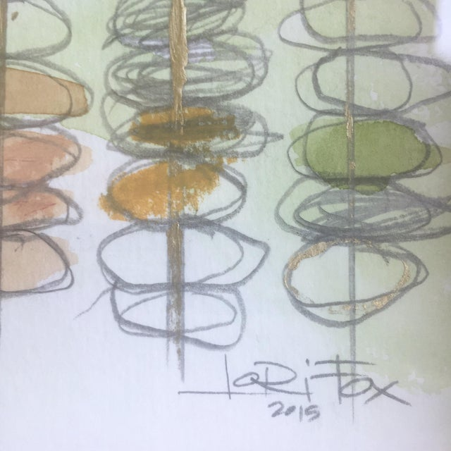 """""""The Present Moment"""" Green Watercolor Painting - Image 6 of 6"""