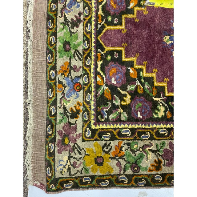 Traditional Tehranian Hand Woven Purple Floral Wool Rug For Sale - Image 3 of 9