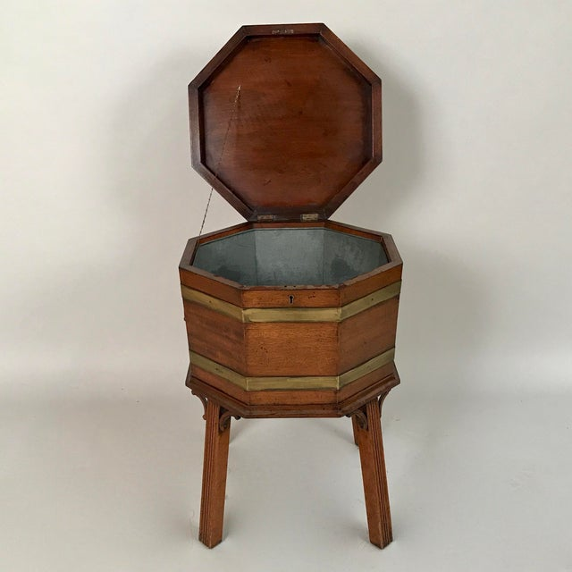 Circa 1700 George III mahogany cellarette is also known as a modern-day wine cooler. It has a detachable metal lining to...
