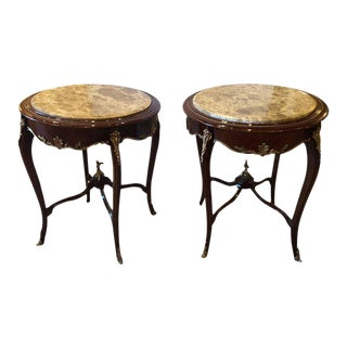 Louis XV Style Bronze Mounted Highly Detailed Marble-Top End Tables - a Pair