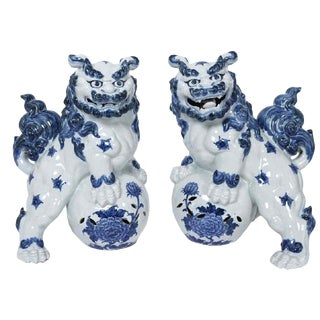 Pair Large Blue White Foo Dogs Chinese Foo Dogs Delft Style Chinese Foo Dogs Large Blue & White Delft Style Guardian Lions For Sale
