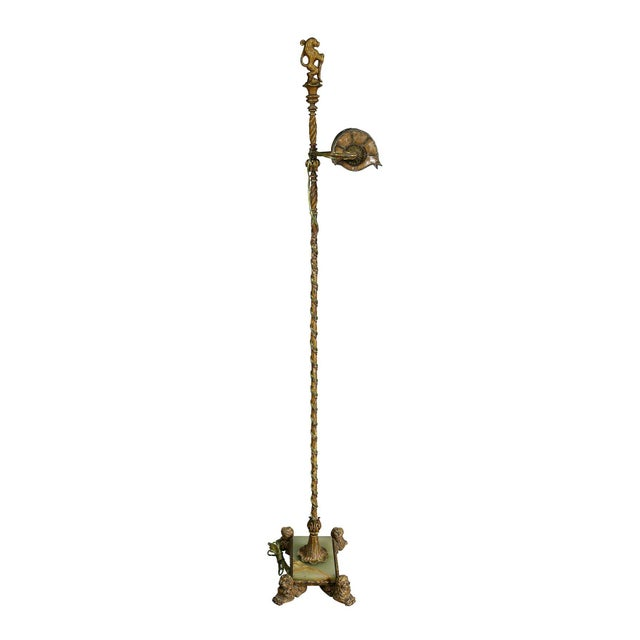 Bronze Renaissance Revival Wrought Iron and Bronze Floor Lamp For Sale - Image 7 of 11