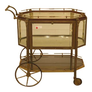 F29332ec: Vintage Brass French Empire Style Display Cart