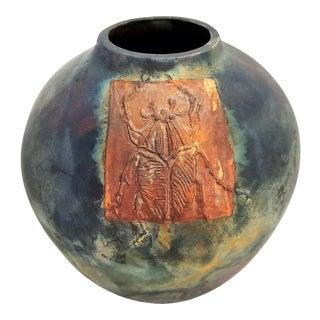 Raku Ceramic Vase With Copper Scarab Beetle - Vintage 1970s Studio Art Pottery For Sale
