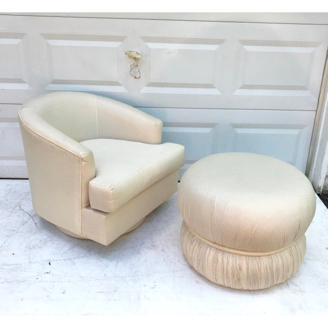 Modern Swivel Club Chair With Matching Pouf Ottoman For Sale - Image 10 of 10