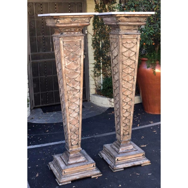 """Italian 66"""" Antique Monumental Marble Top Pedestals - a Pair For Sale - Image 3 of 4"""