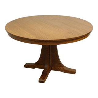 """Stickley Mission Collection Oak Expendable 52"""" Round Pedestal Dining Table For Sale"""