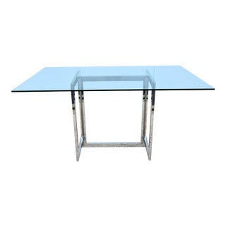 "Modern West Elm 60"" Rectangular Chrome and Glass Dining Table or Conference Table For Sale"