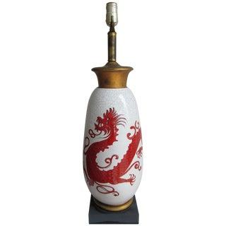 Vintage Porcelain Dragon Painted Lamp