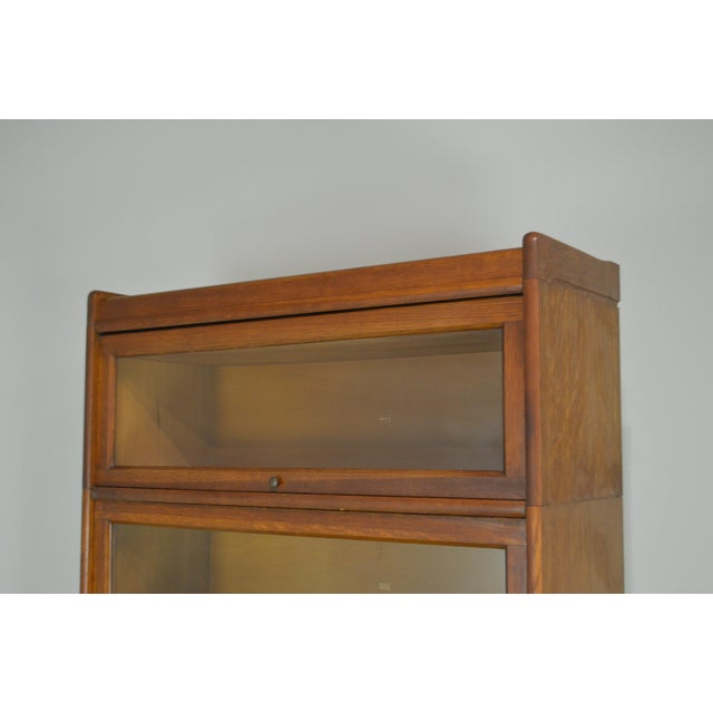 Antique Oak 5 Section Stacking Barrister Bookcase With Drawer by Weis For Sale - Image 9 of 13