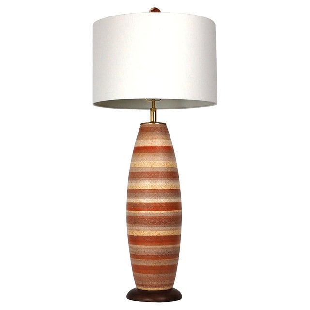 Large Mid-Century Striped Pottery Lamp - Image 9 of 9