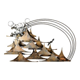 Mid-Century Jere Style Abstract Mixed Metal Wall Sculpture For Sale