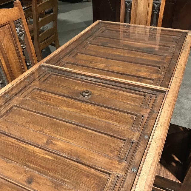 Rustic Antique Door Table & Chairs - Set of 5 - Image 3 of 8