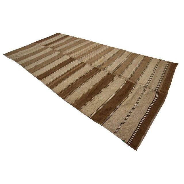 1960s Vintage Brown Striped Kars Wool Kilim Rug- 5′10″ × 11′7″ For Sale - Image 4 of 7