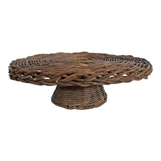Woven Wicker Cake Stand For Sale