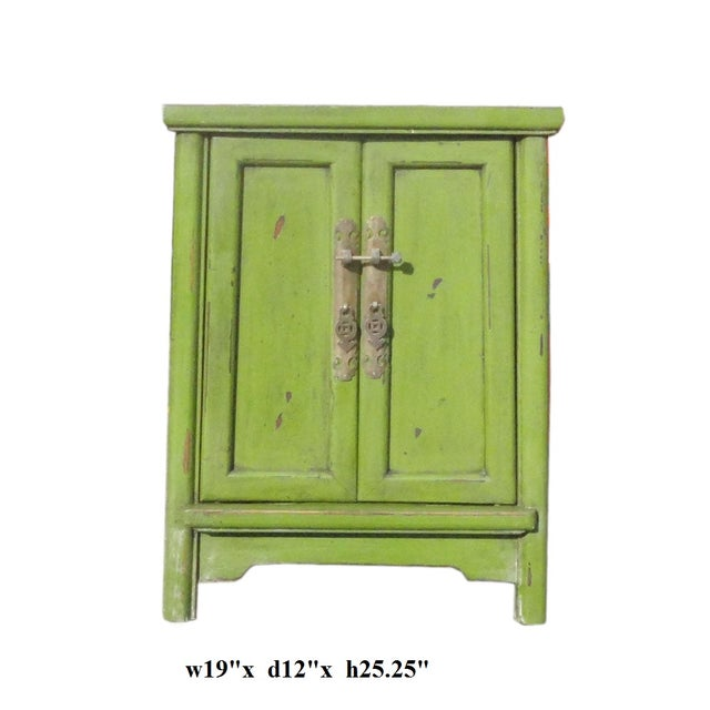 Grass Green Oriental End Table Nightstand For Sale - Image 5 of 5
