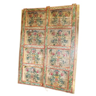 Antique Indian Teak Wood Floral Hand Painted Rustic Barn Door Panels For Sale