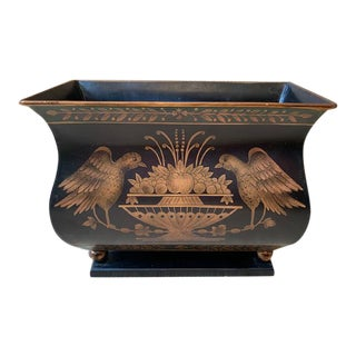 Vintage Tole Black and Gilt Jardiniere For Sale