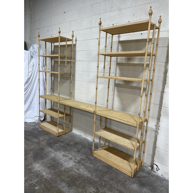This is a fantastic Dorothy Draper style double etageres with suspended desk area. Grass cloth cover wood shelves amd iron...